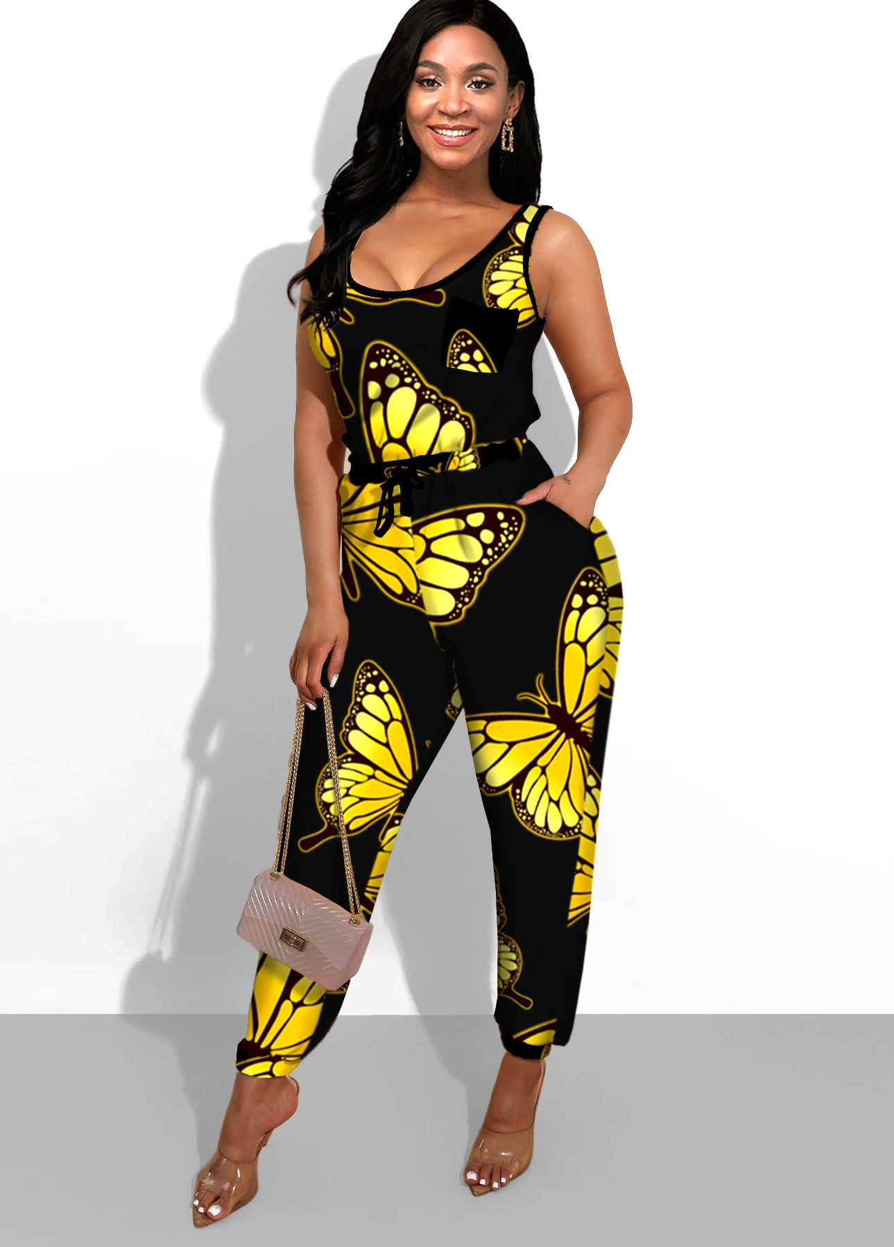 ROTITA Butterfly Print Black Side Pocket Jumpsuit
