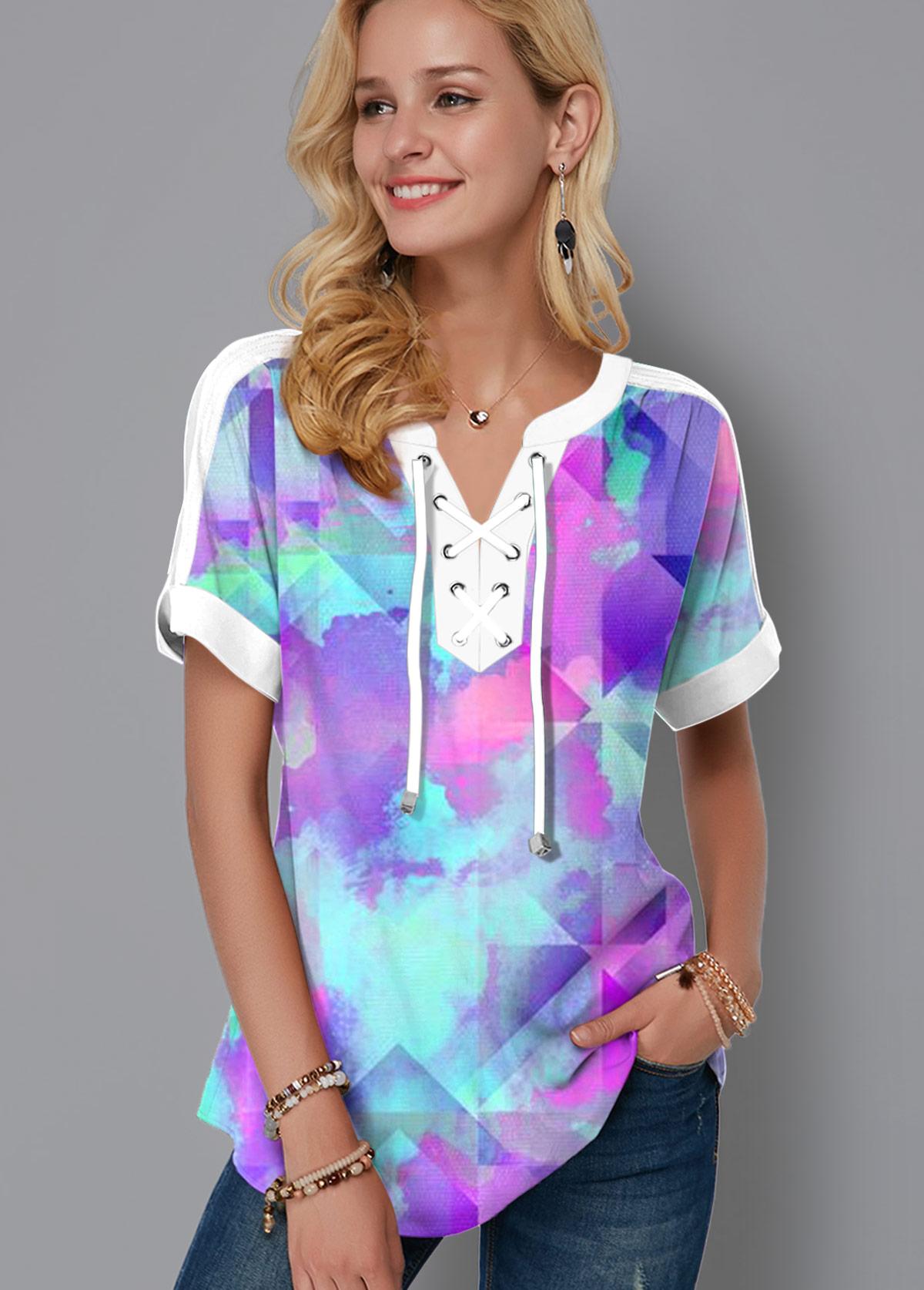 ROTITA Lace Up Tie Dye Print Short Sleeve Blouse