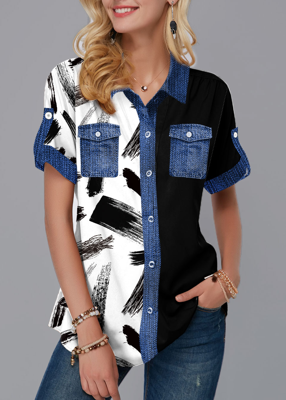 ROTITA Button Up Chest Pocket Printed Blouse