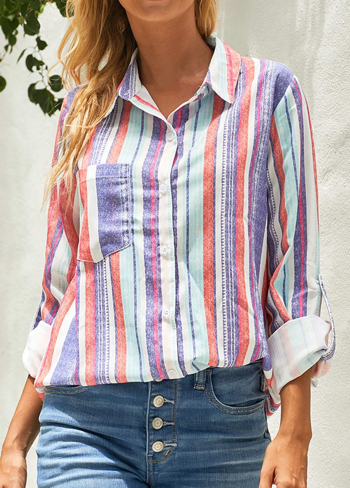 Button Up Rainbow Stripe Turndown Collar Blouse