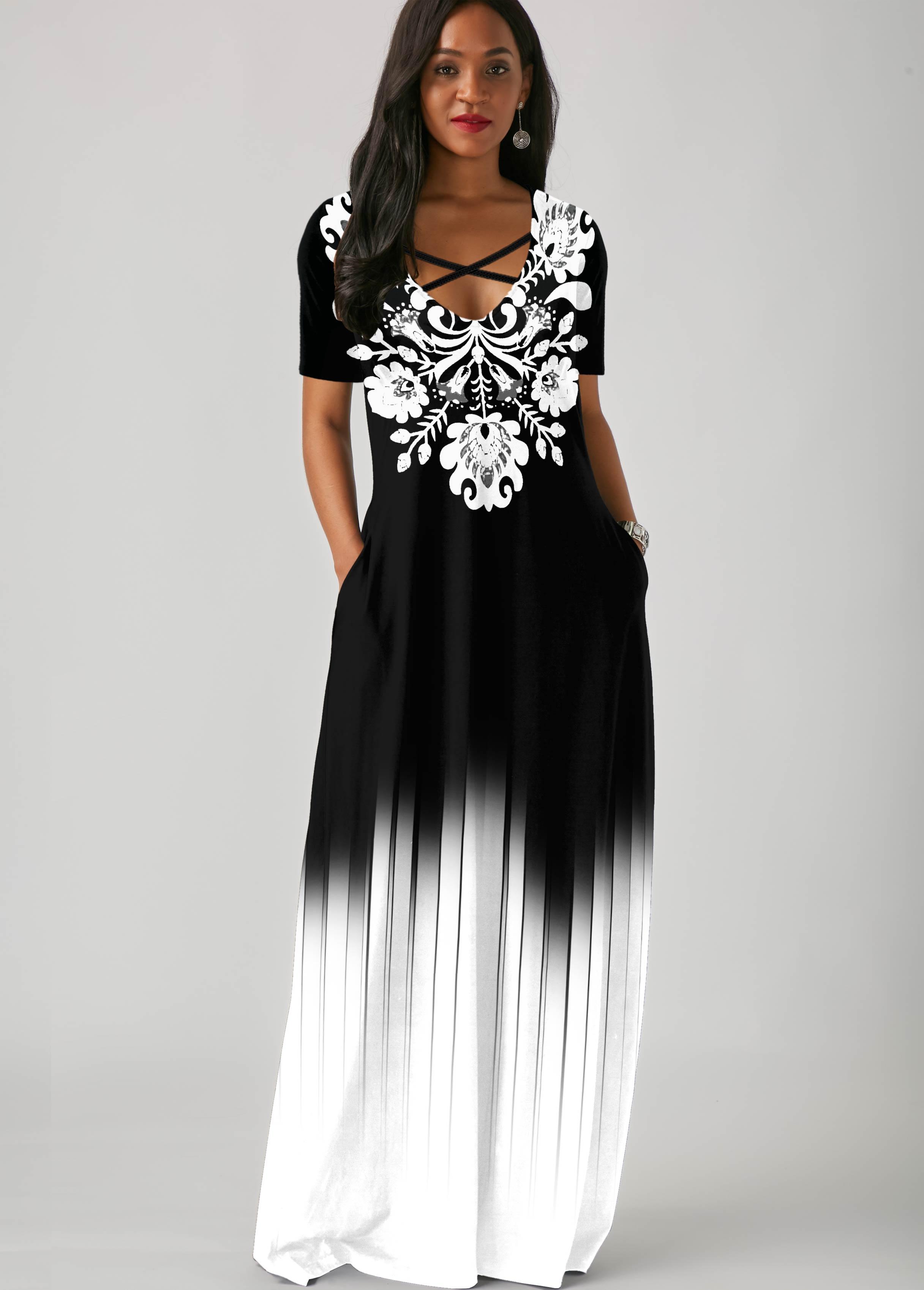 ROTITA Tribal Print Side Pocket Gradient Maxi Dress