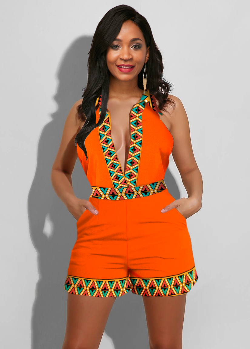 ROTITA Plunging Neck Tribal Print Sleeveless Romper