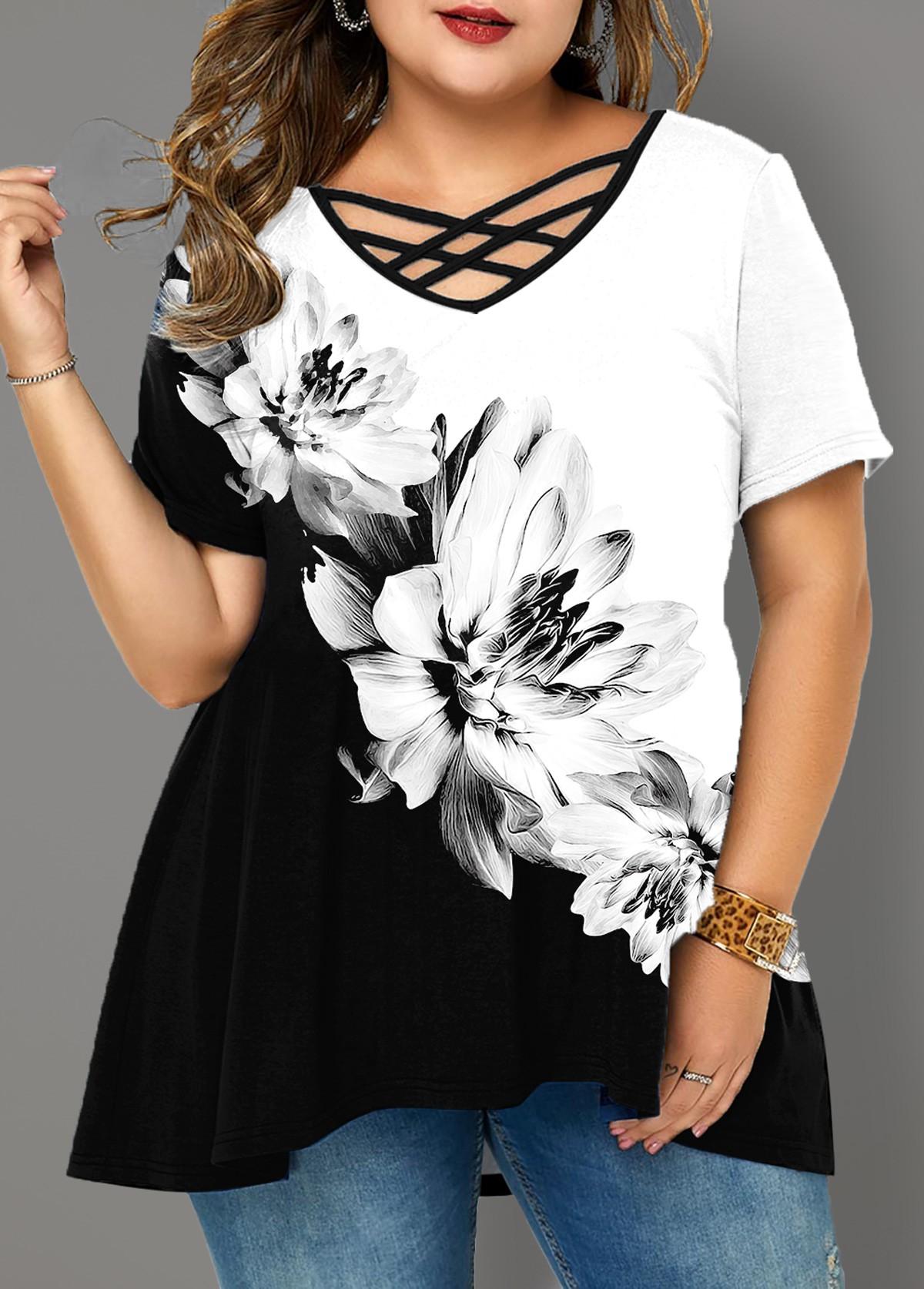ROTITA Plus Size Cross Strap Floral Print T Shirt