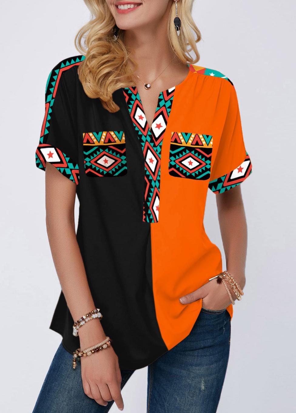 ROTITA Color Block Short Sleeve Tribal Print Blouse