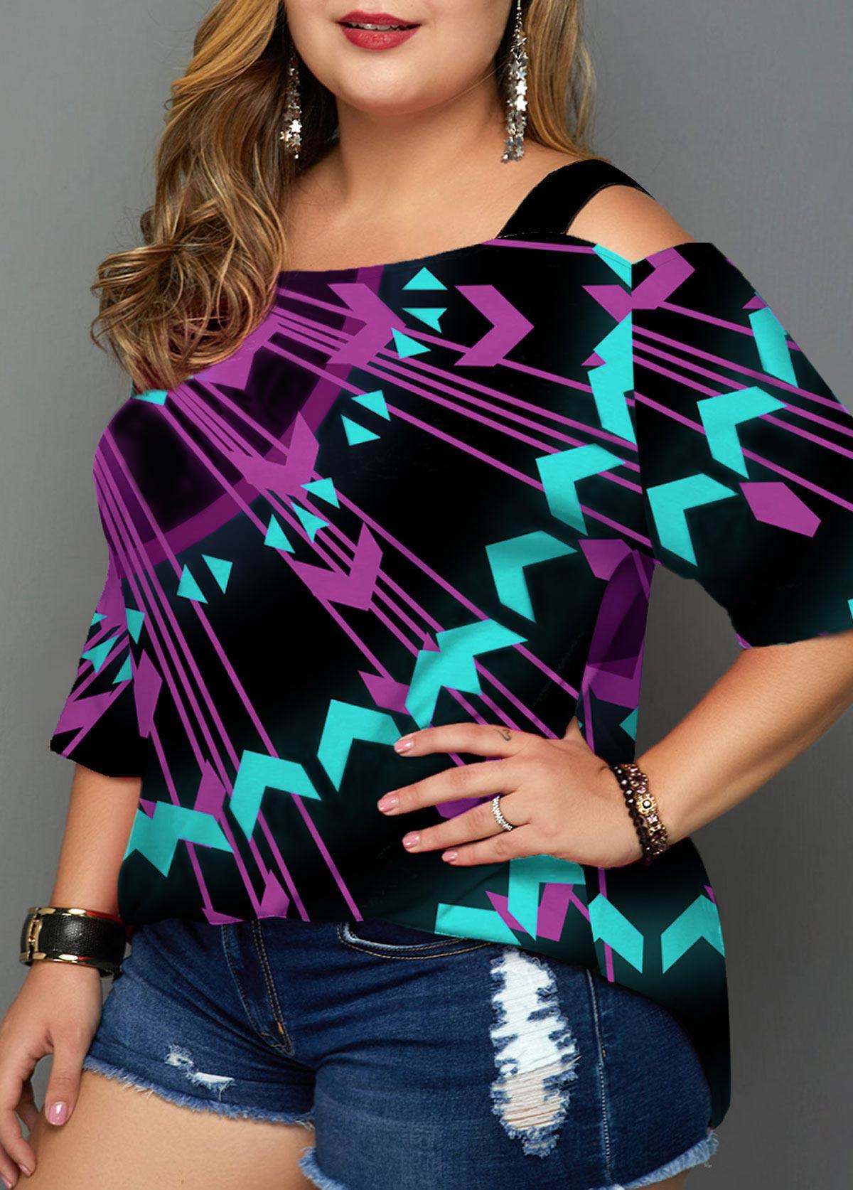 ROTITA Plus Size Cold Shoulder Geometric Print T Shirt
