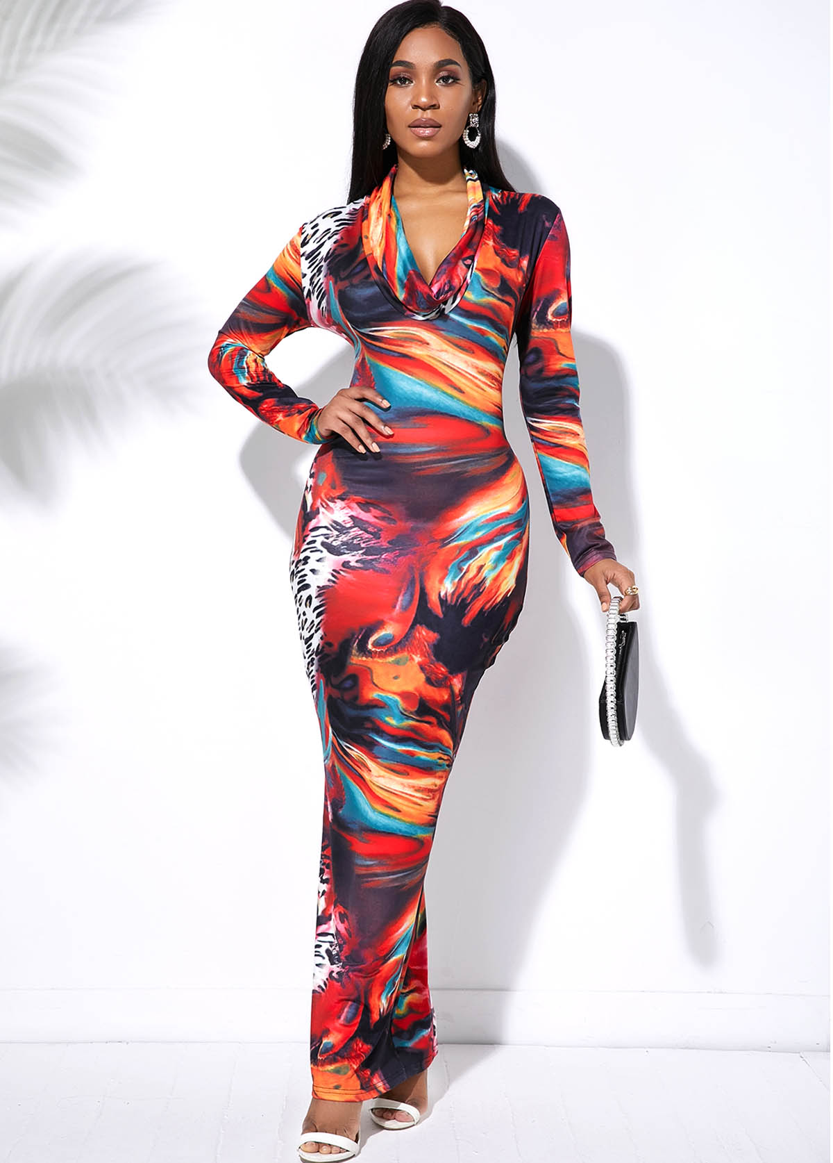 Tie Dye Multi Color Long Sleeve Maxi Dress