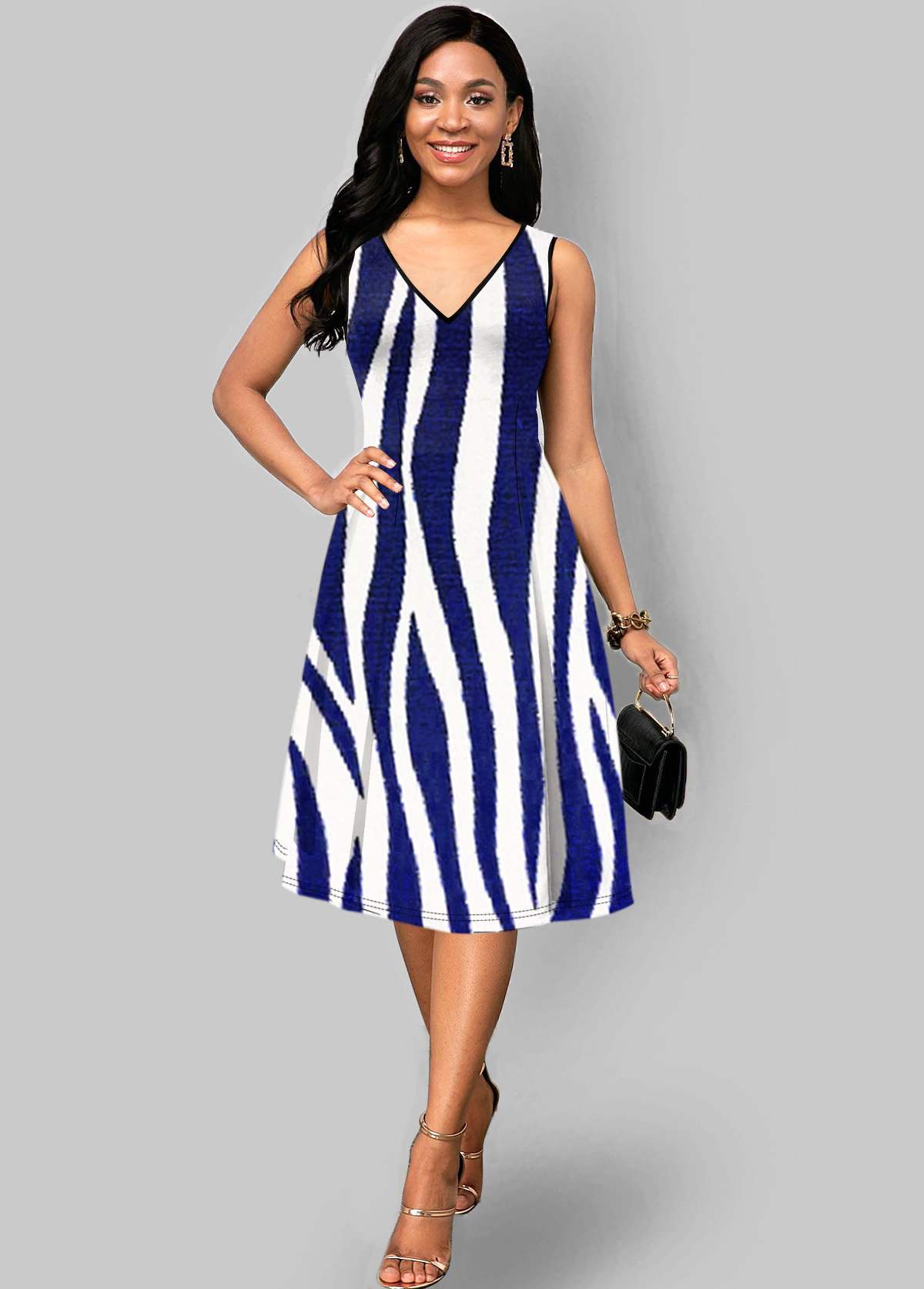 ROTITA V Neck Zebra Print Sleeveless Dress
