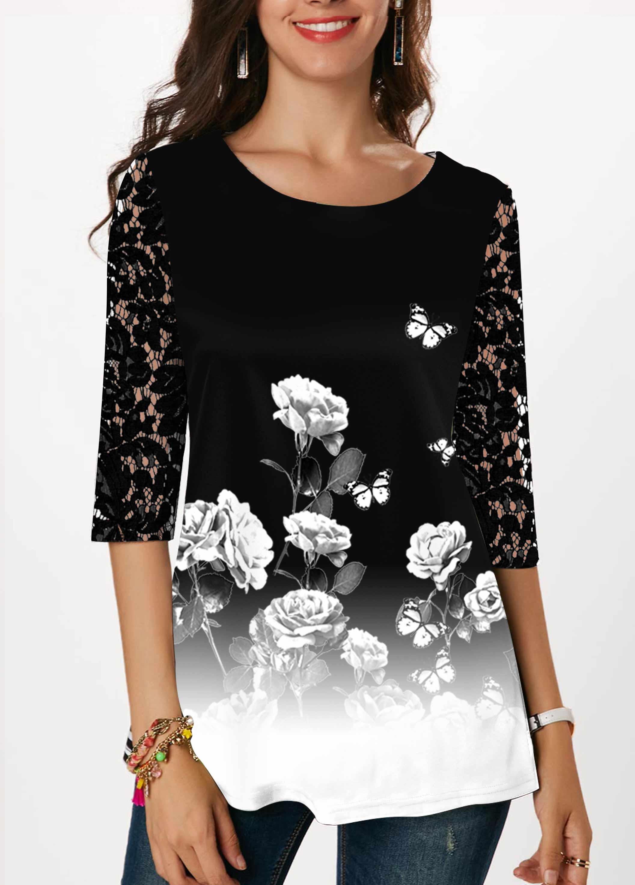 ROTITA Lace Panel Floral Print Gradient T Shirt