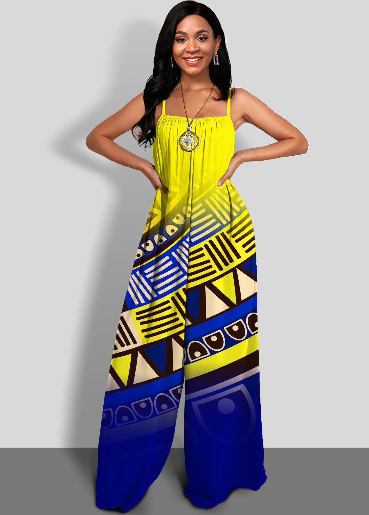 ROTITA Wide Leg Tribal Print Spaghetti Strap Jumpsuit