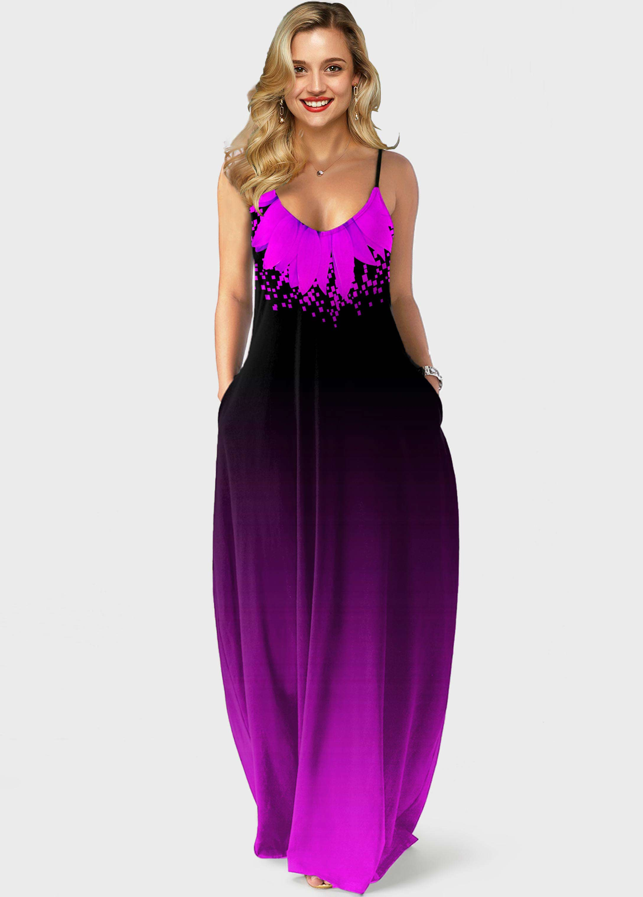 ROTITA Side Pocket Purple Gradient Spaghetti Strap Maxi Dress