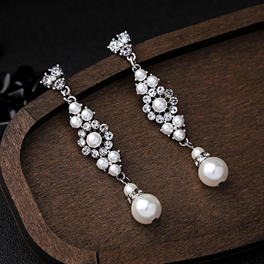 Silver Metal Pearl Embellished Earring Set for Lady