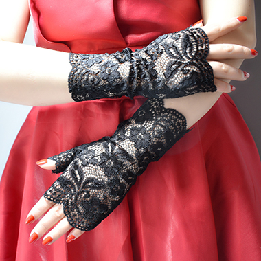 1 Pair 20 X 9cm Lace Black Fingerless Gloves