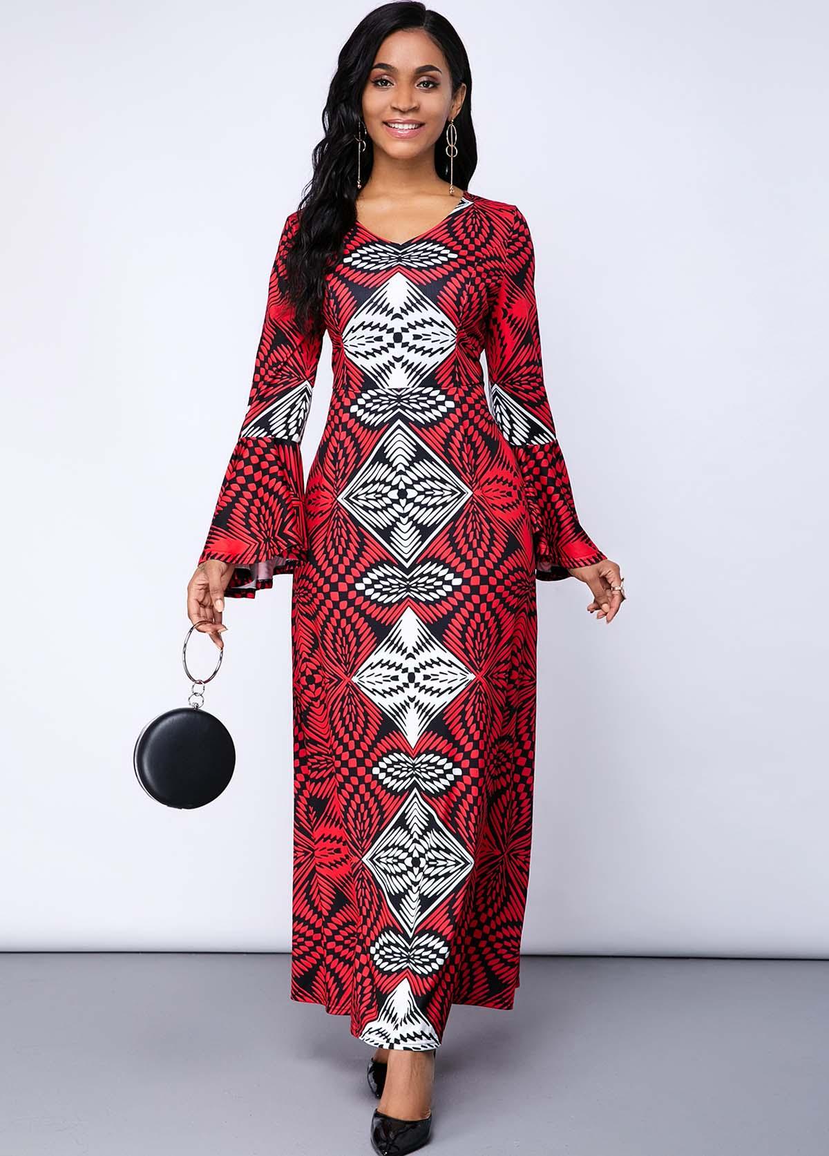 ROTITA Flare Sleeve Tribal Print Maxi Dress