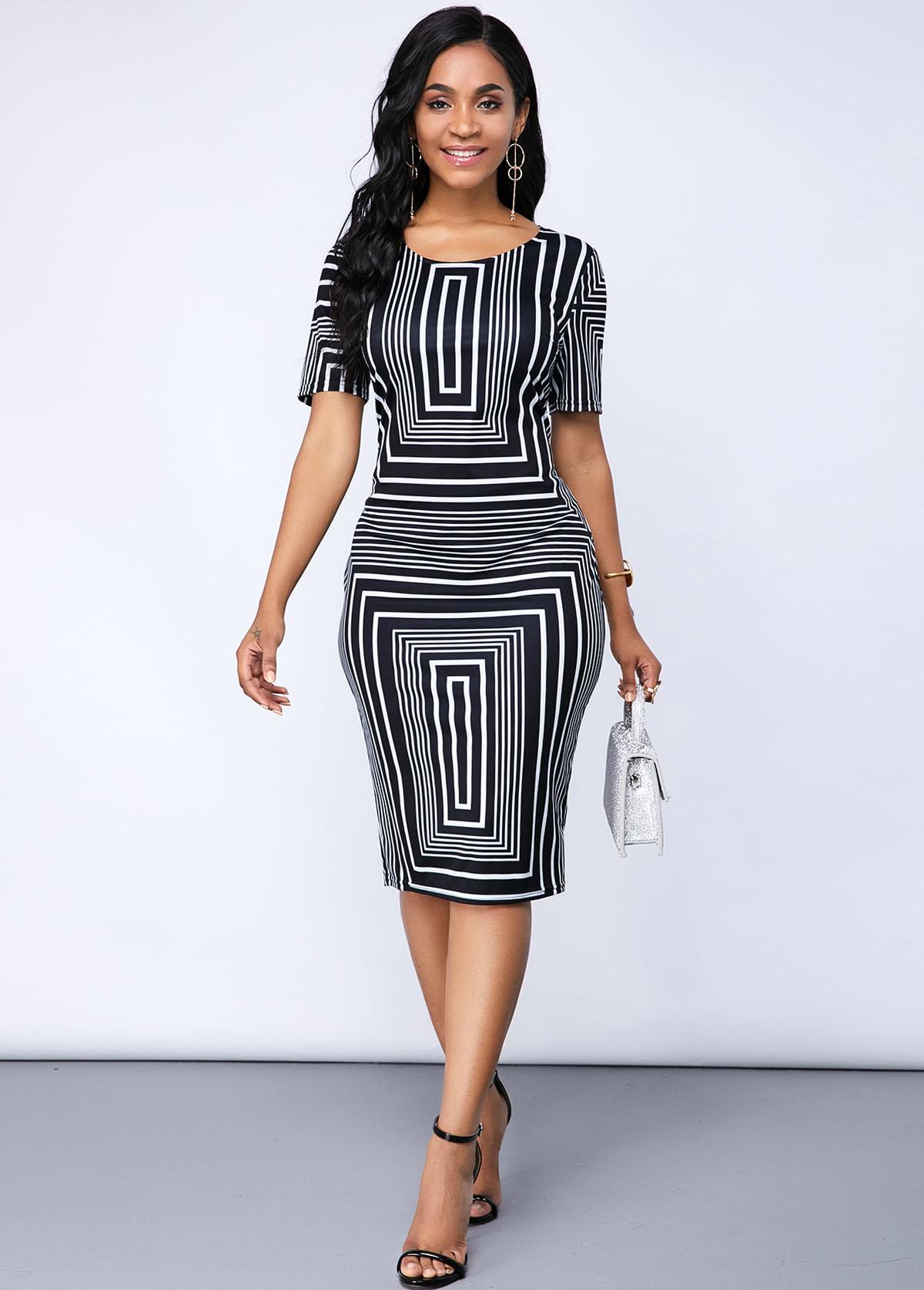 ROTITA Geometric Print Short Sleeve Round Neck Dress