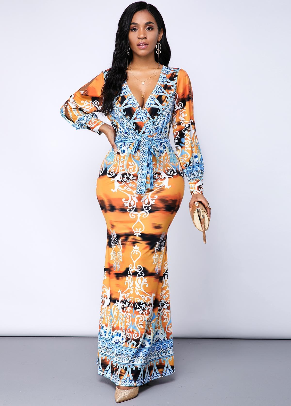 ROTITA Tribal Print Plunging Neck Belted Dress
