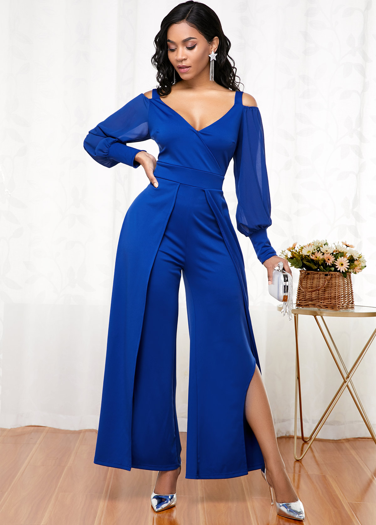 ROTITA Cold Shoulder Lantern Sleeve Side Slit Jumpsuit