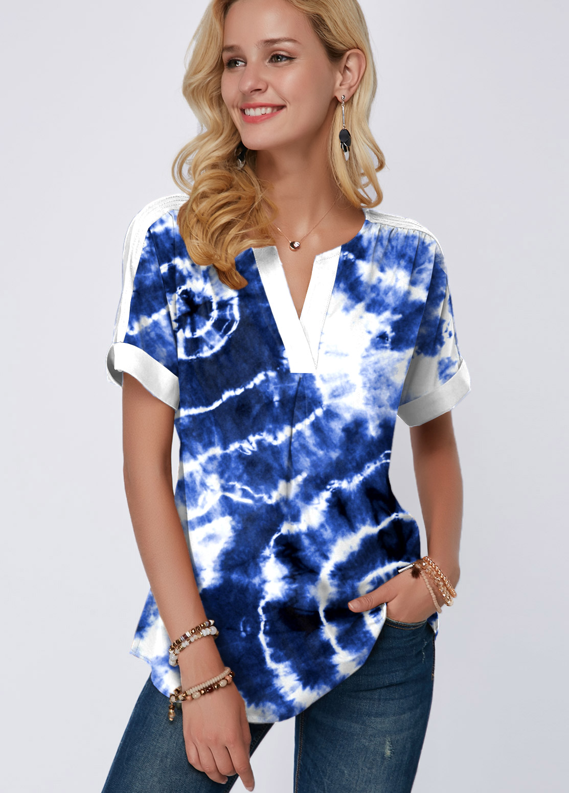 ROTITA Split Neck Tie Dye Print Short Sleeve Blouse