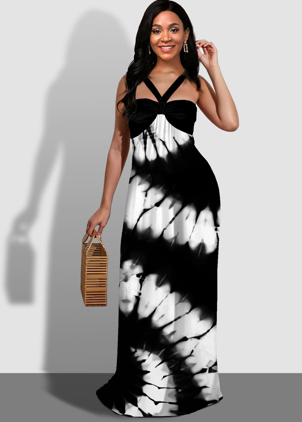 ROTITA Spaghetti Strap Tie Dye Print Maxi Dress