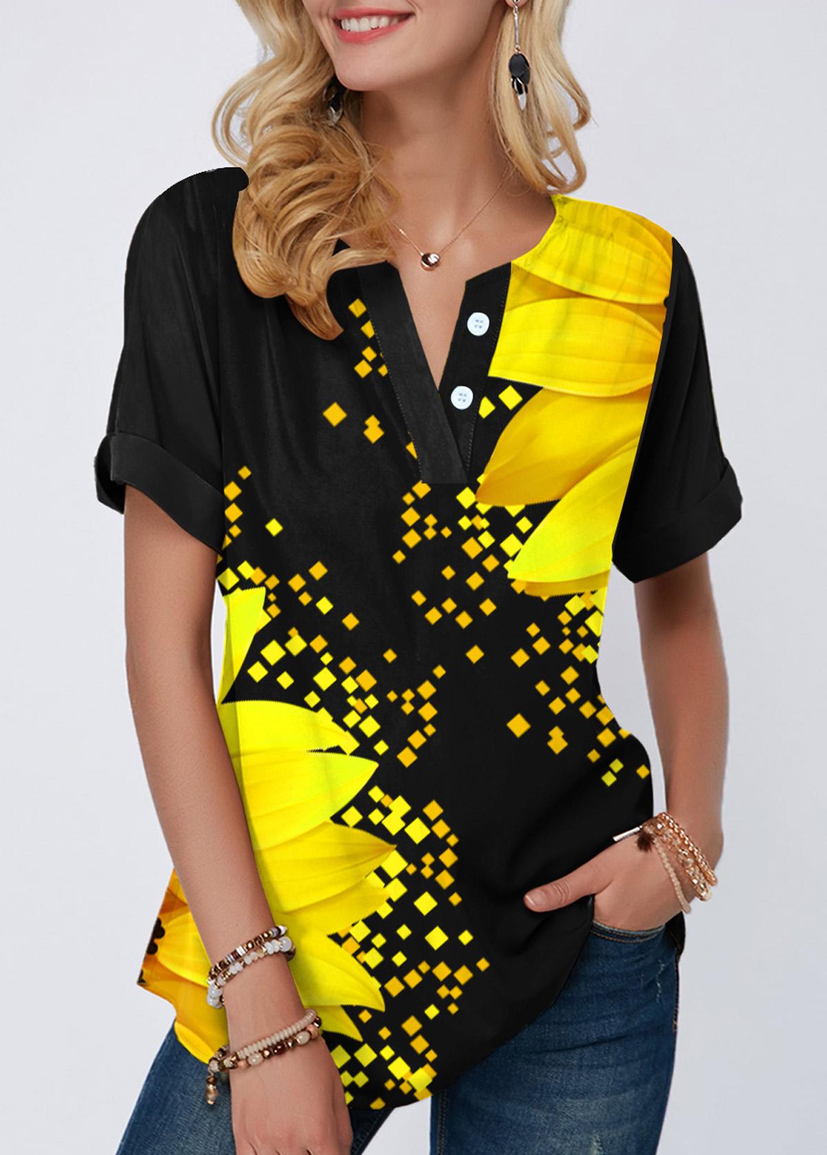 ROTITA Split Neck Sunflower Print Short Sleeve Blouse
