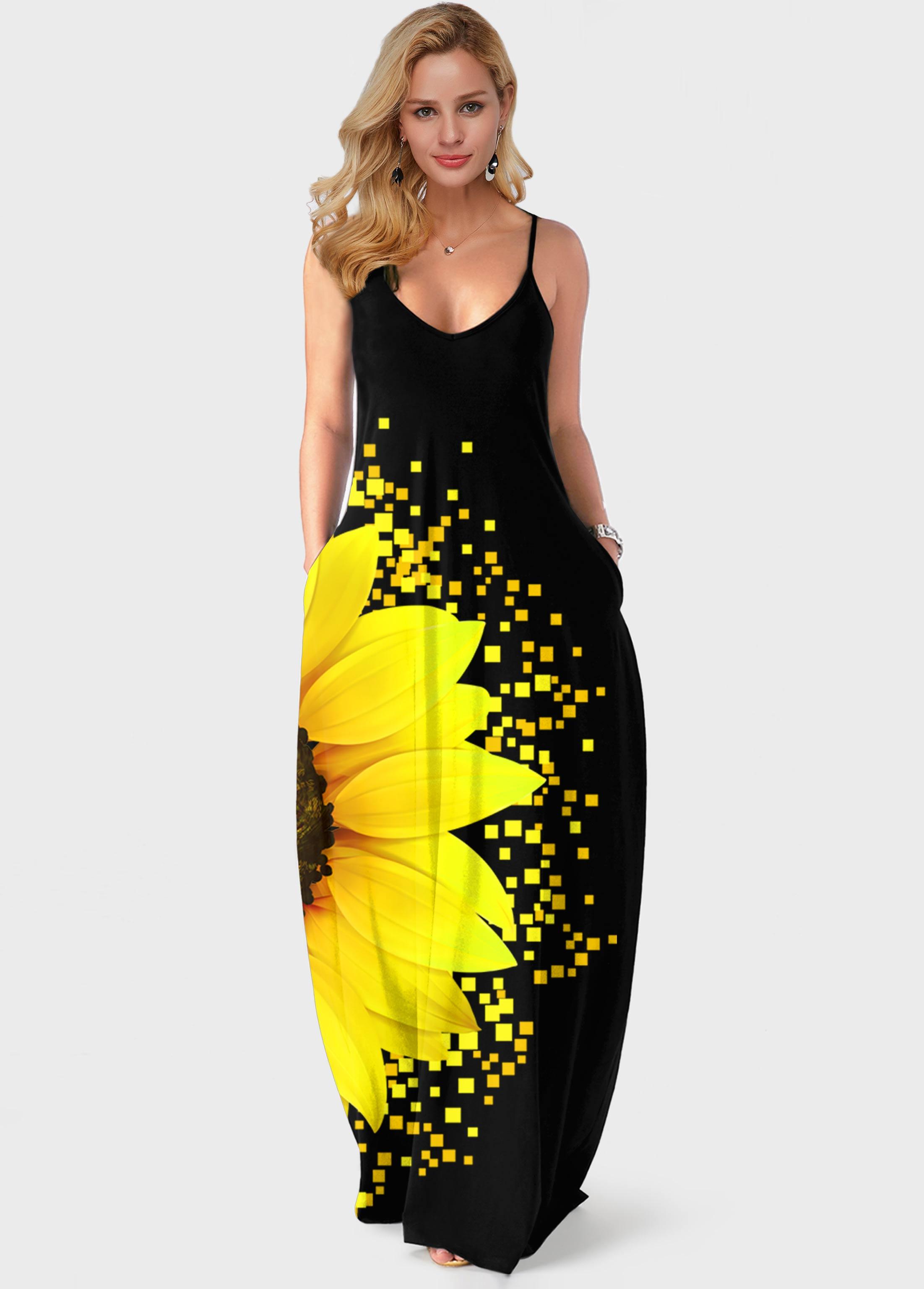 ROTITA Spaghetti Strap Sunflower Print Side Pocket Maxi Dress