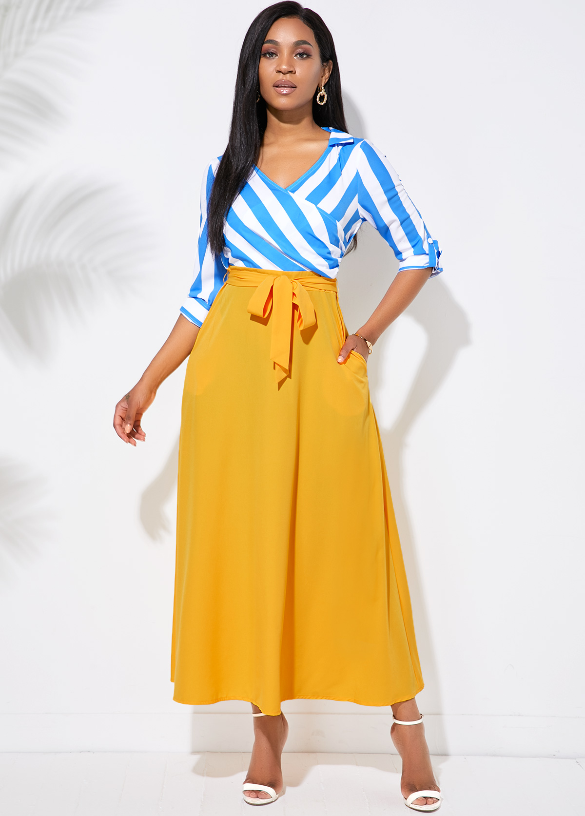 ROTITA Side Pocket Stripe Print Belted Maxi Dress