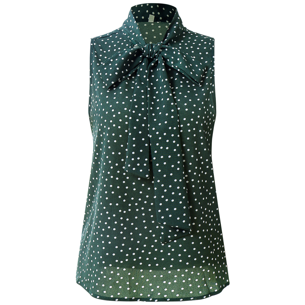 Tie Neck Polka Dot Dark Green Tank Top