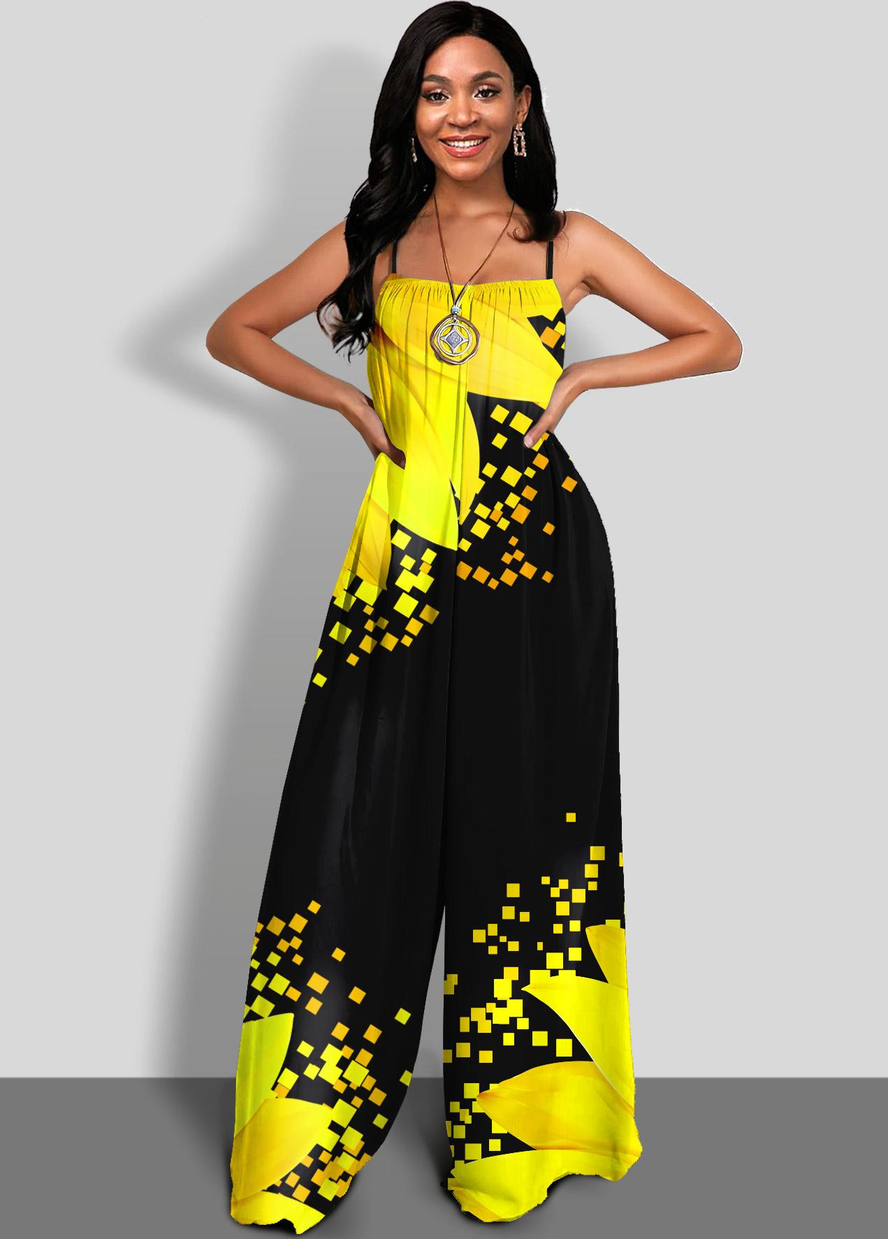 ROTITA Spaghetti Strap Sunflower Print Yellow Jumpsuit