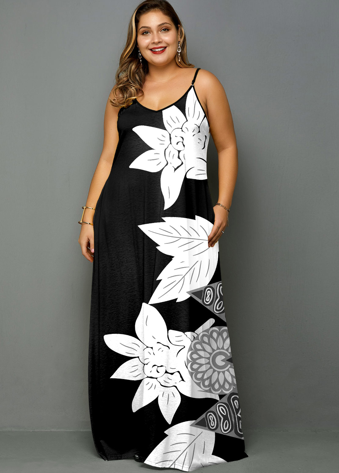 ROTITA Plus Size Flower Print Spaghetti Strap Maxi Dress