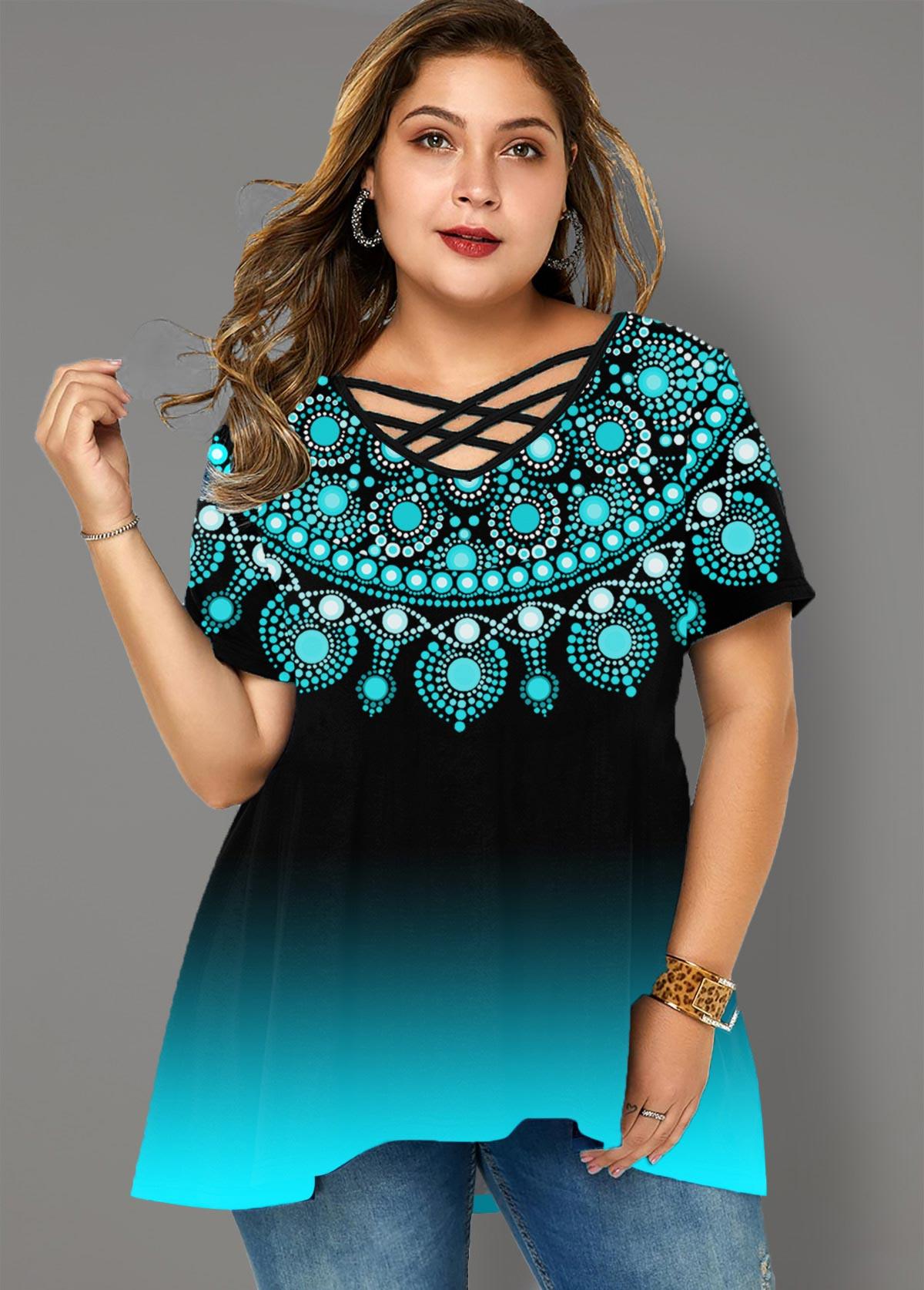 ROTITA Plus Size Tribal Print Gradient T Shirt