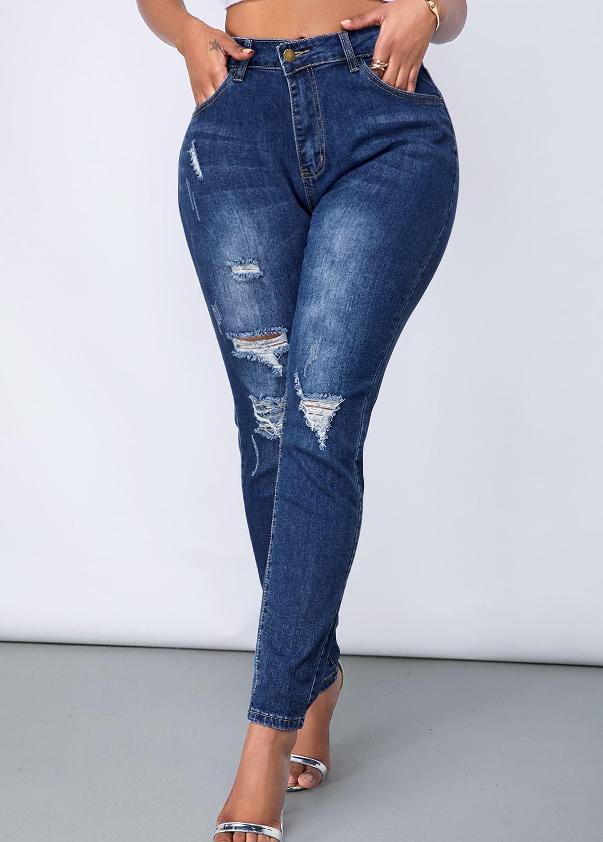 ROTITA Shredded Acid Washed Slant Pocket Skinny Jeans