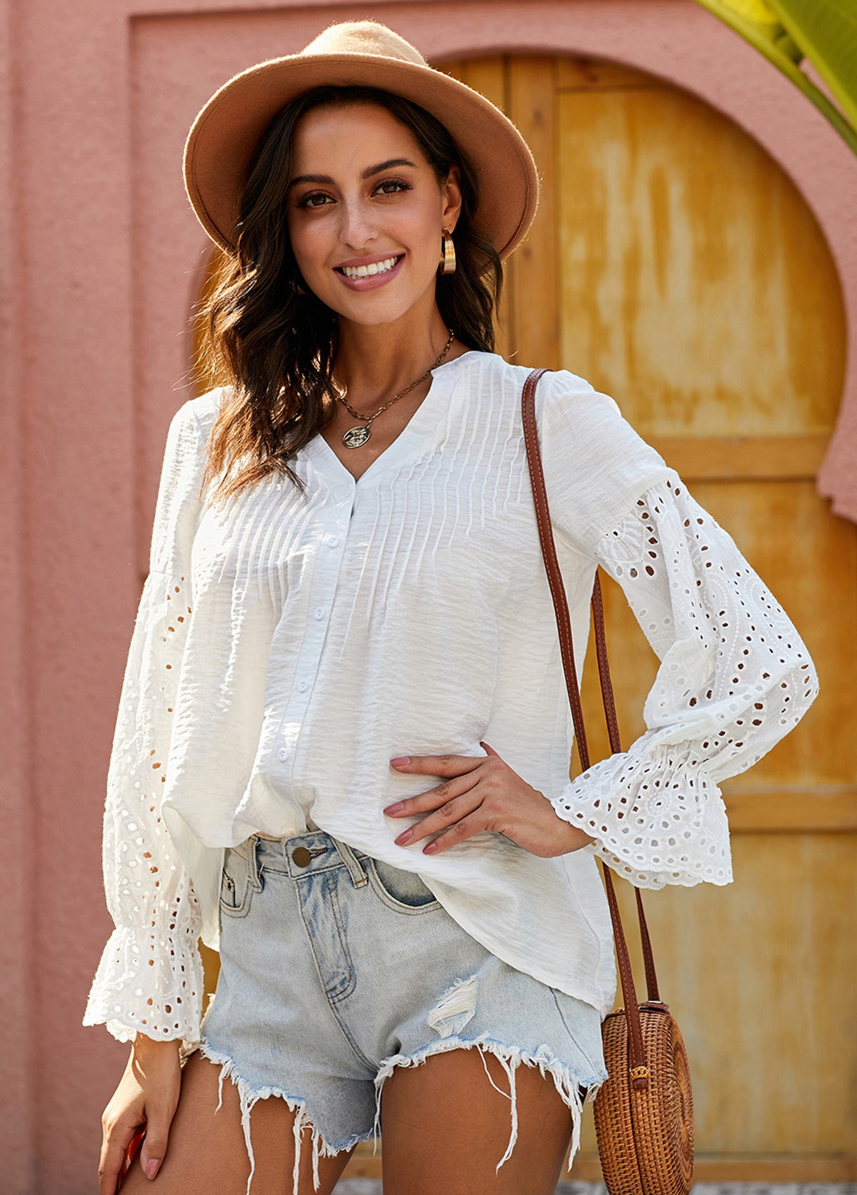 Pierced Flare Cuff Button Up Blouse