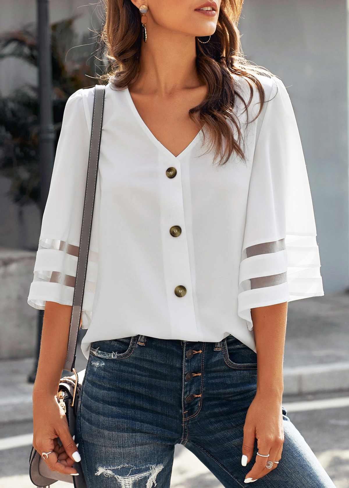Button Up V Neck Flare Sleeve Blouse