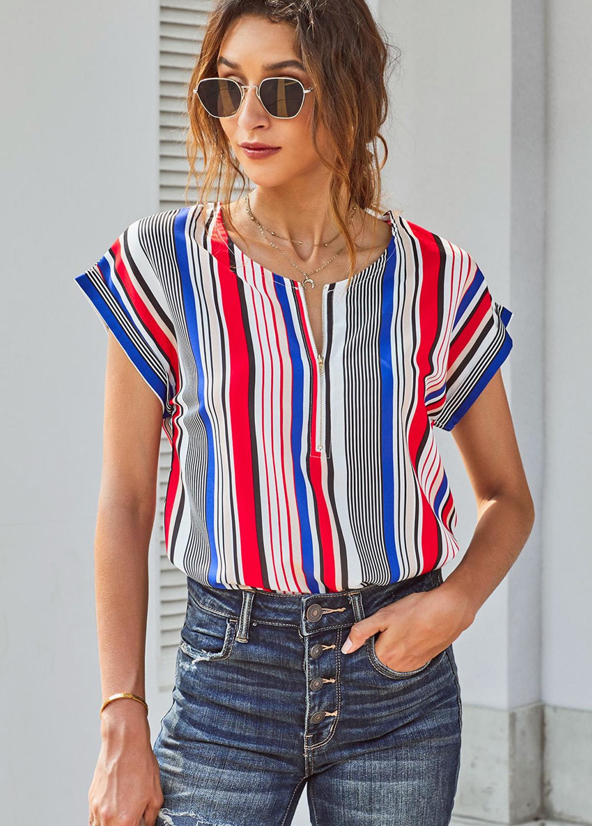 ROTITA Short Sleeve Stripe Print Curved Hem Blouse