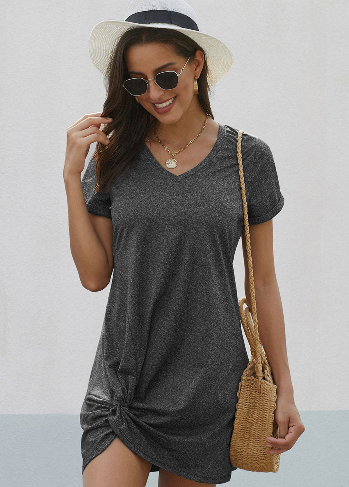 Knotted Hem Short Sleeve V Neck Dress