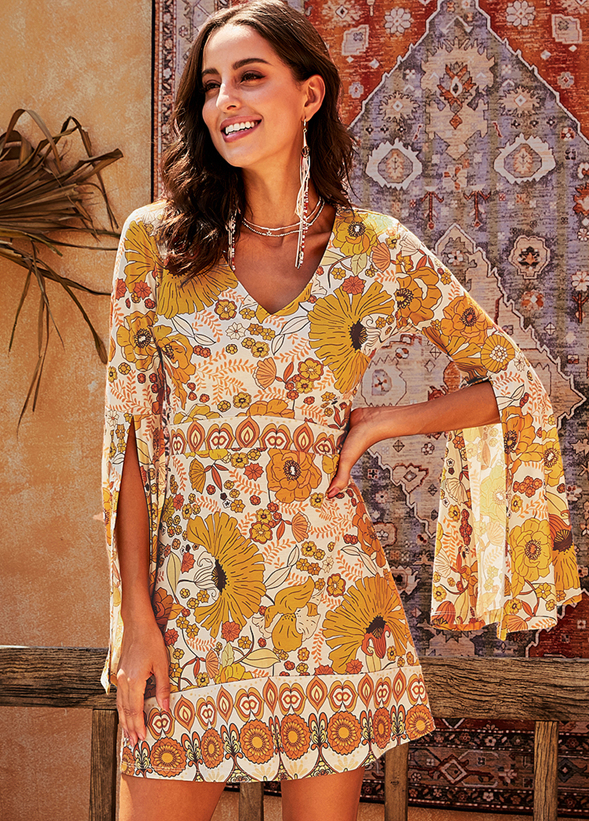 Flare Sleeve V Neck Tribal Print Dress