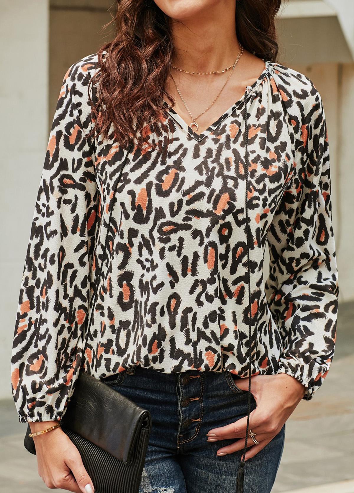 Leopard Print V Neck Tassel Tie Blouse