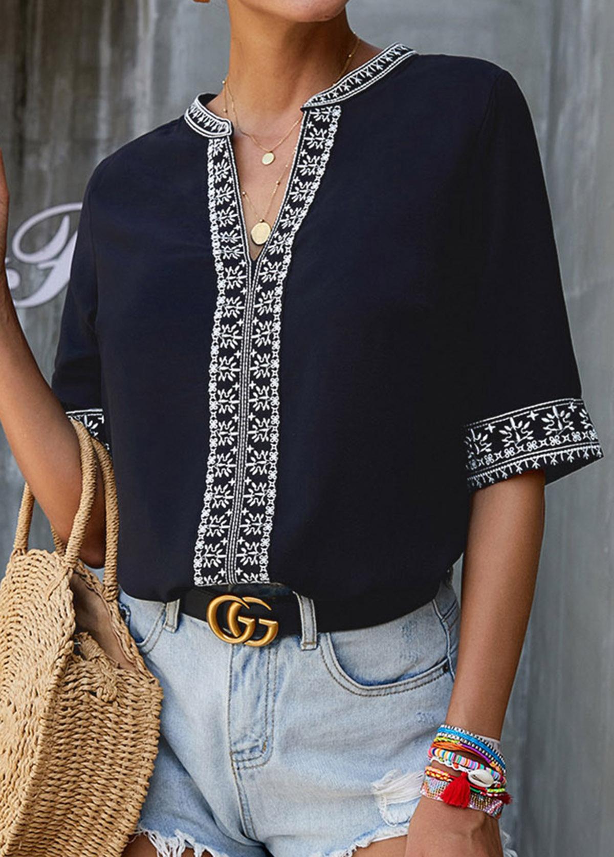 Split Neck Embroidered Short Sleeve Blouse