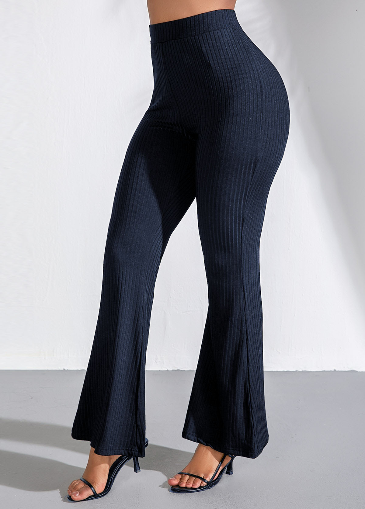 Navy Blue High Waist Flare Pants