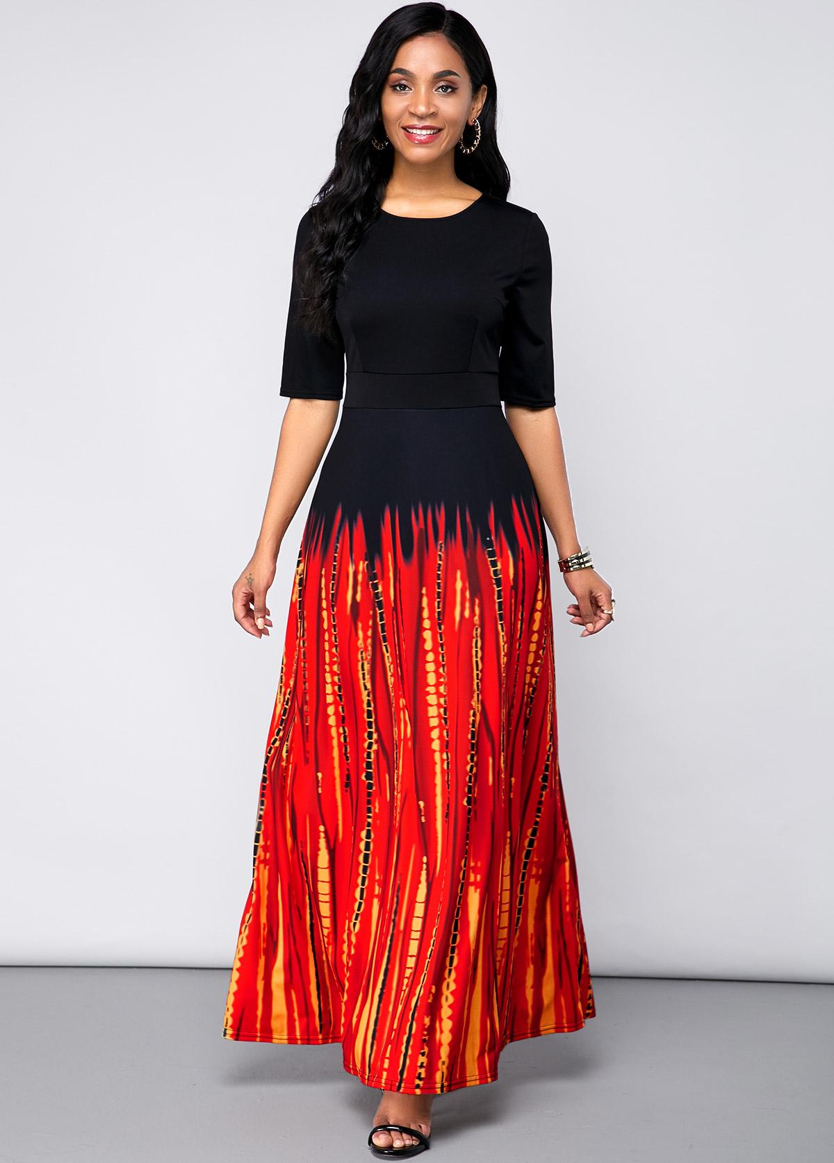 ROTITA Printed Half Sleeve Round Neck Maxi Dress