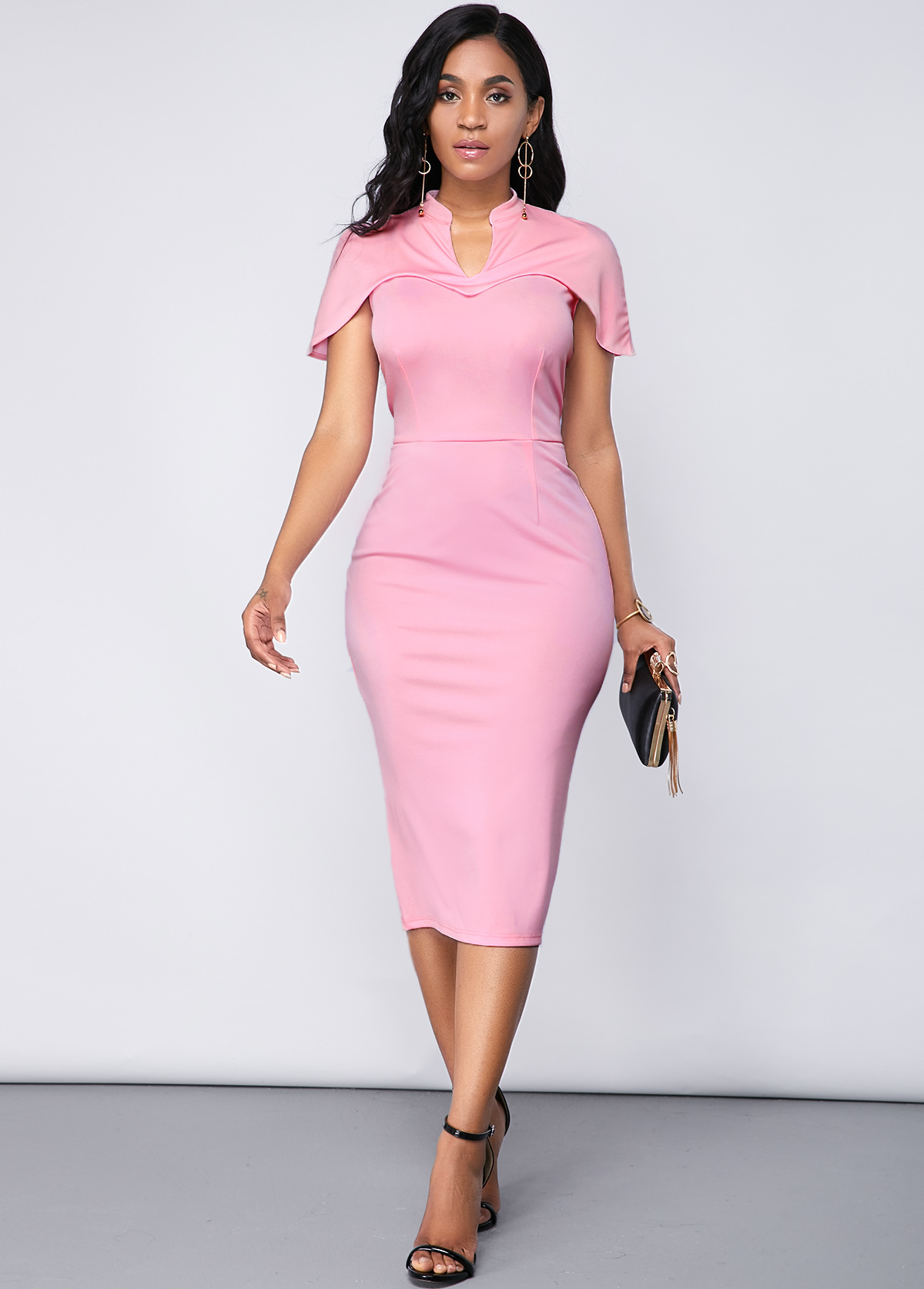 ROTITA Back Slit Cape Sleeve Light Pink Dress