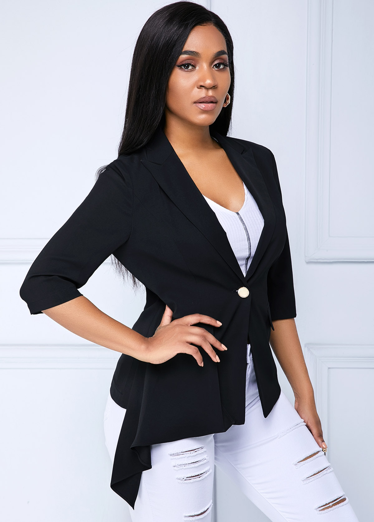 ROTITA Button Up Asymmetric Hem Notch Collar Jacket