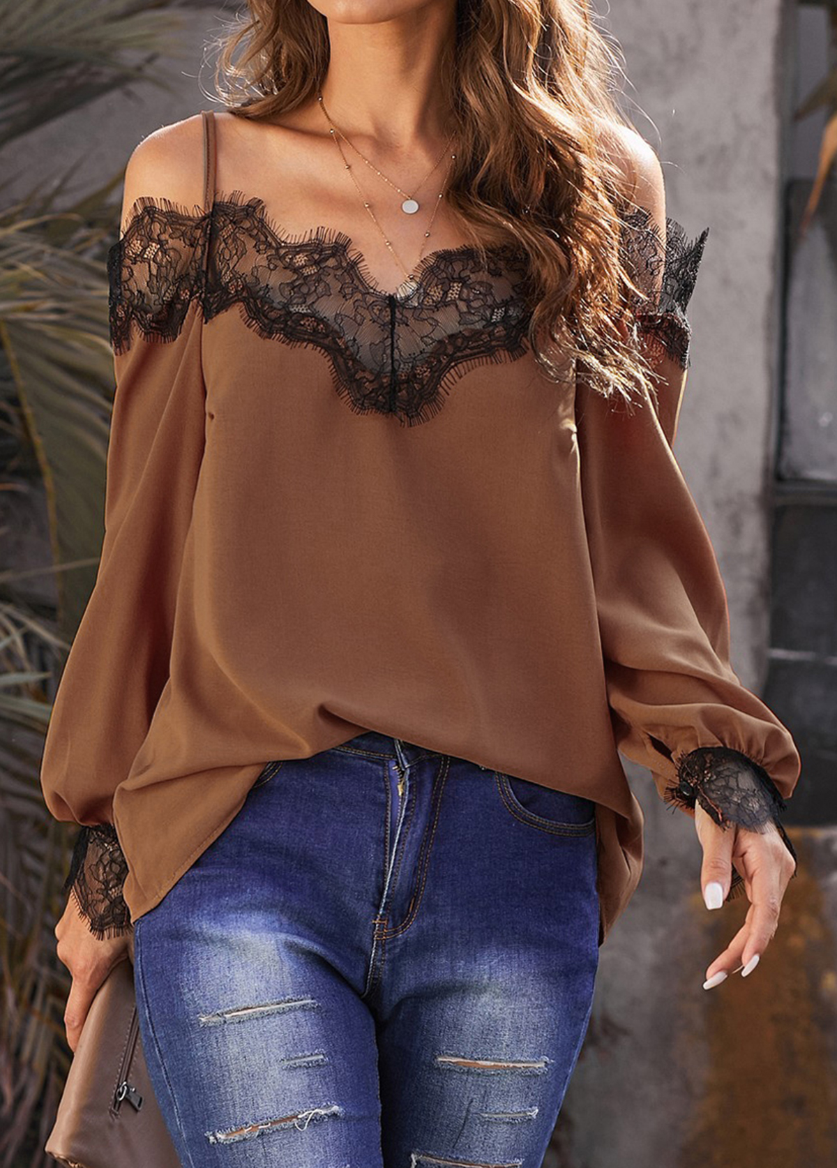 ROTITA Strappy Cold Shoulder Lace Panel Lantern Sleeve Blouse