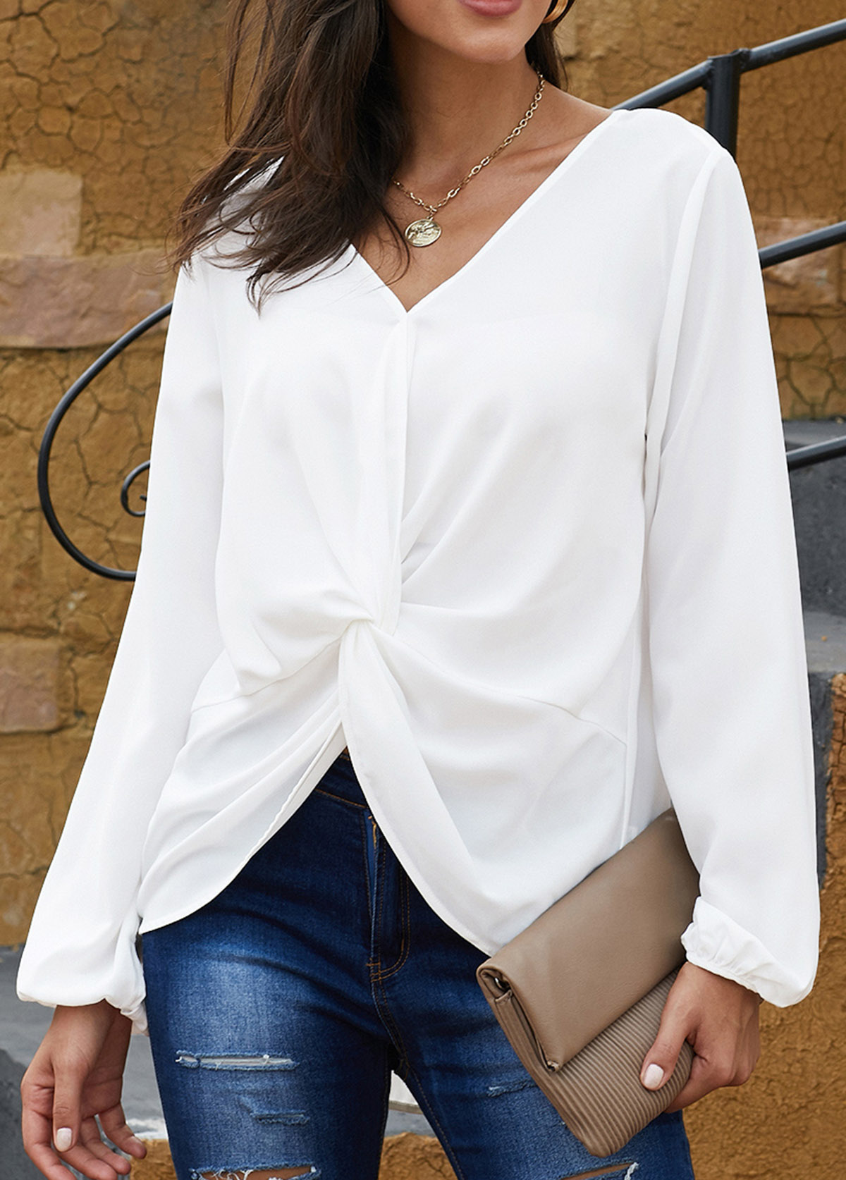 Knotted Hem Long Sleeve Tie Back Blouse