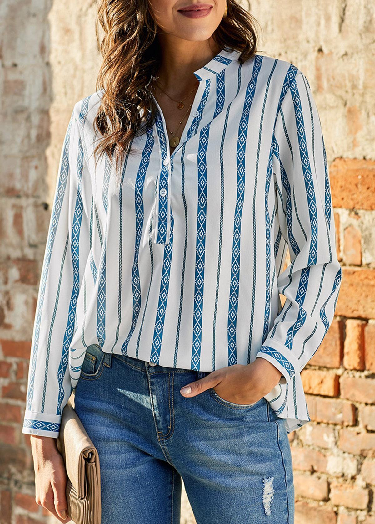 Stripe Print Long Sleeve Split Neck Blouse