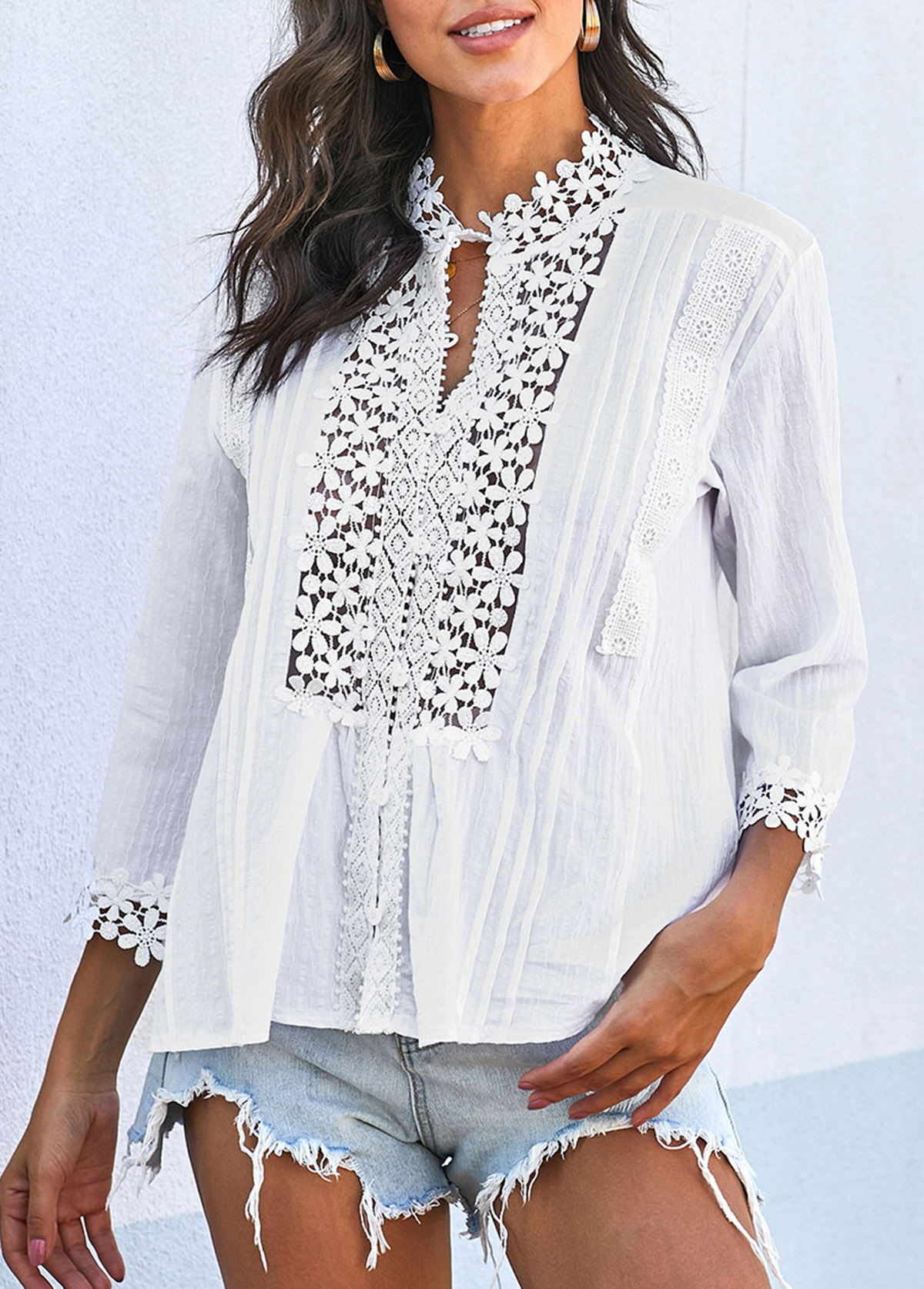 Lace Panel Three Quarter Sleeve Crinkle Chest T Shirt