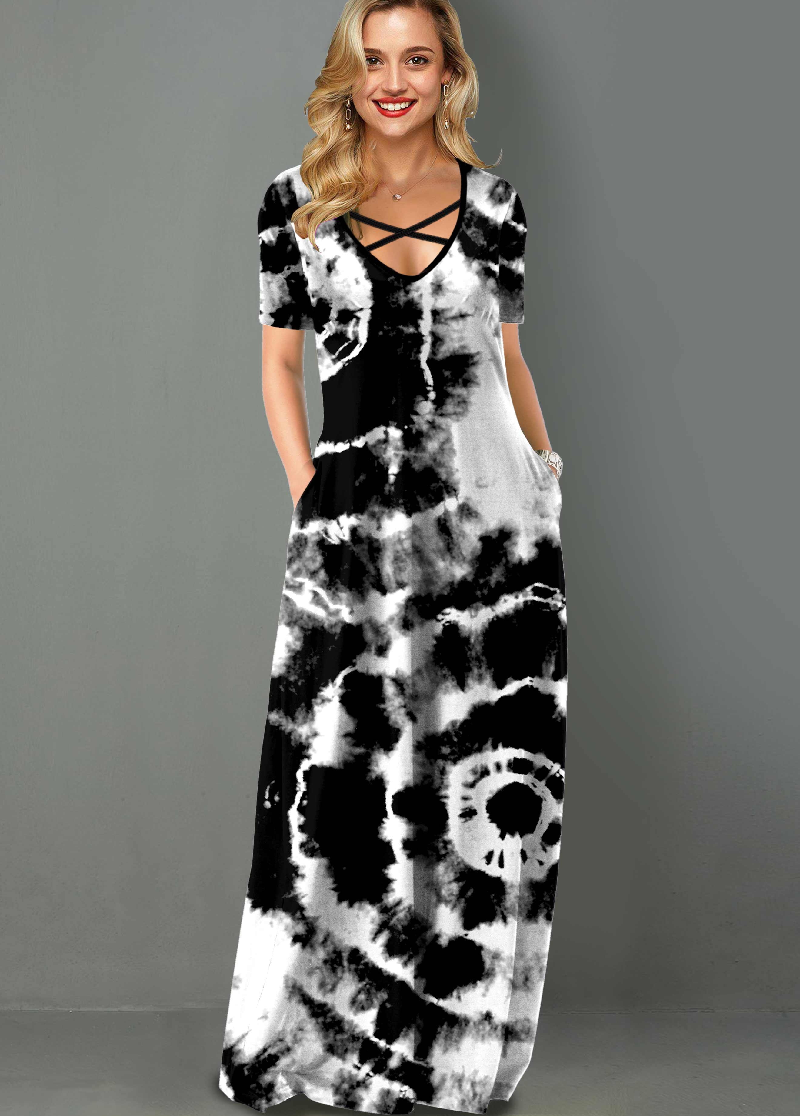 ROTITA Tie Dye Print Cross Strap Side Pocket Maxi Dress