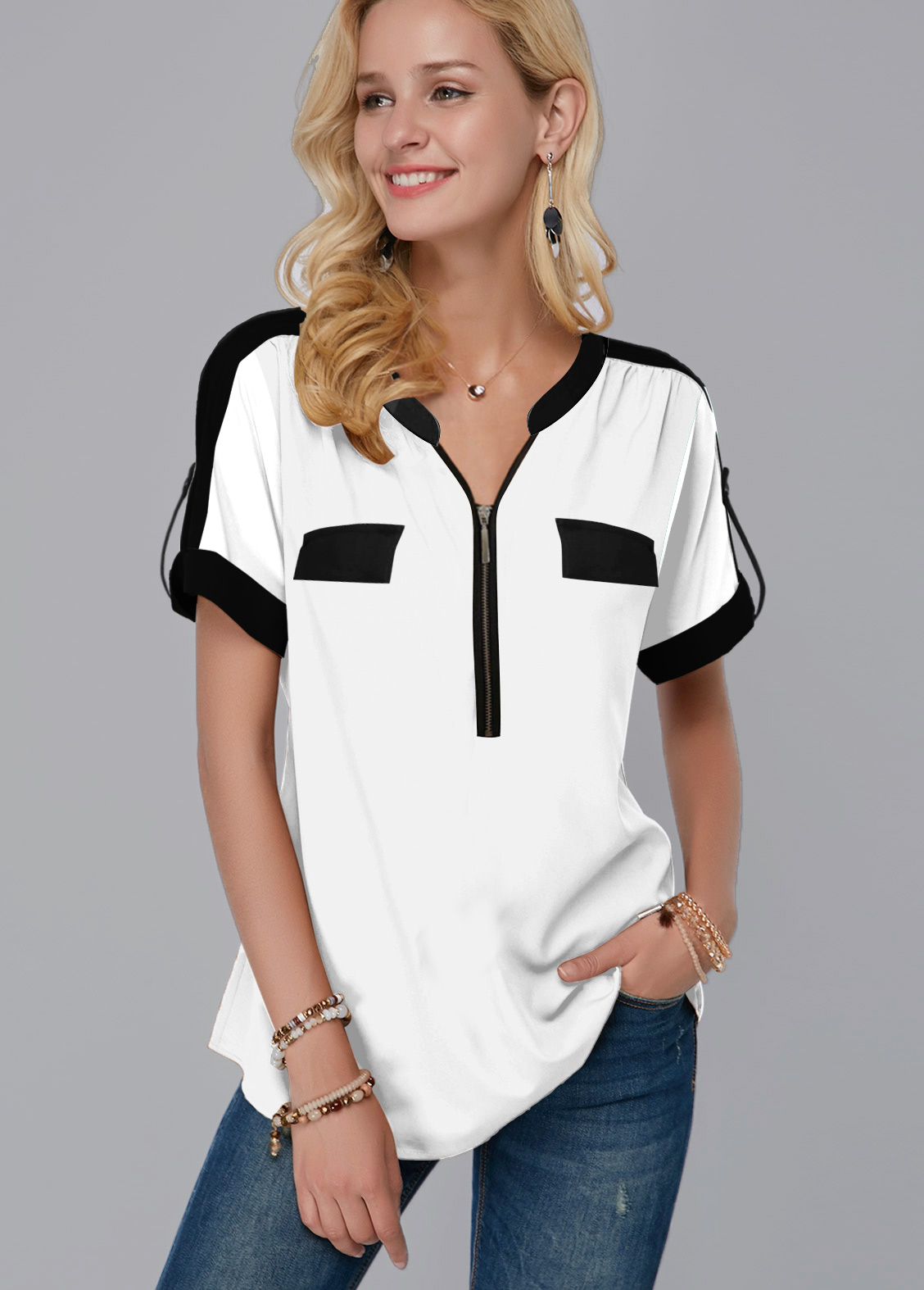 ROTITA Quarter Zip Contrast Piping Short Sleeve Blouse
