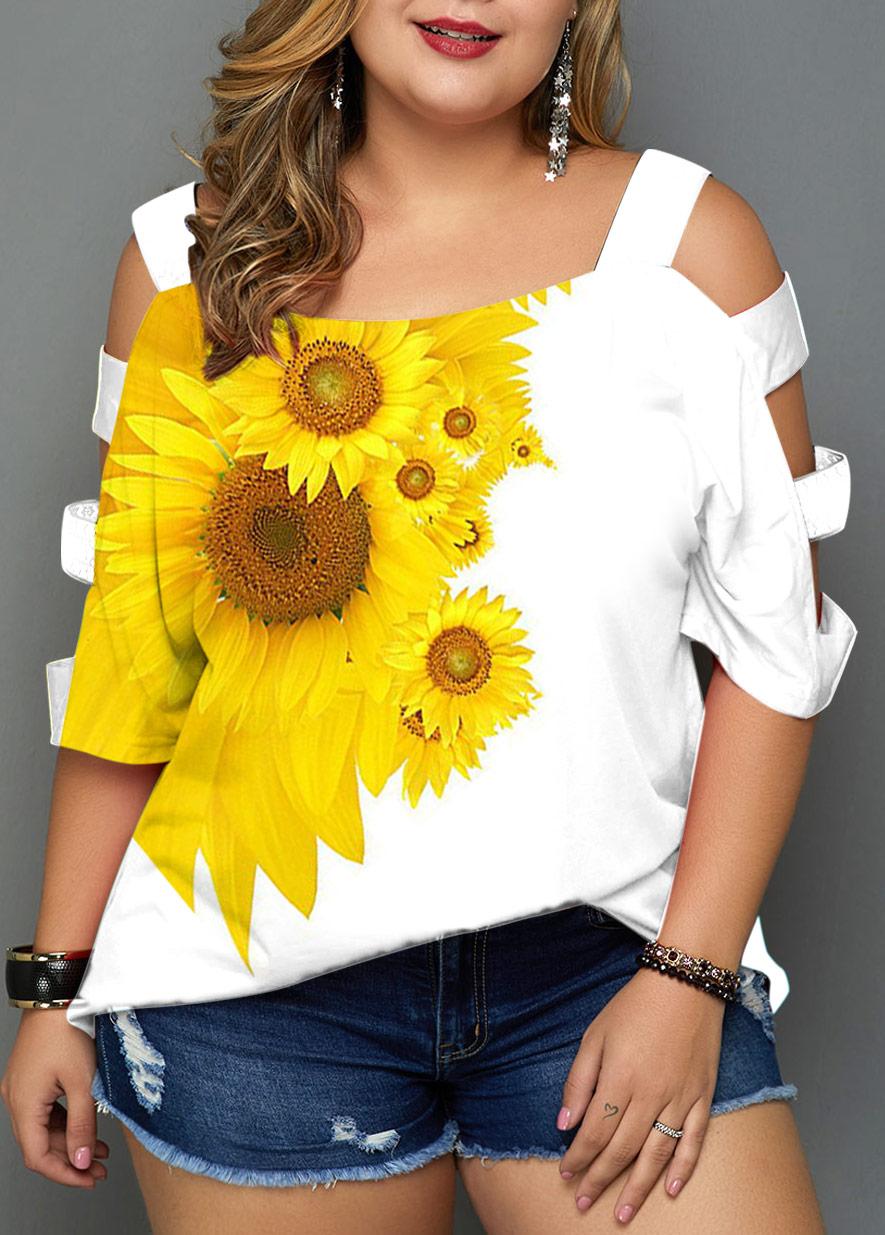 ROTITA Plus Size Ladder Cutout Sunflower Print Tunic Top