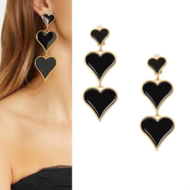 Black Heart Design Metal Earring Set