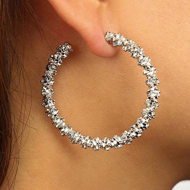 Silver Metal Circle Shape Earring Set